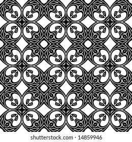 Abstract seamless black and white pattern - graphic illustration