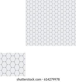Abstract seamless geometric pattern of light gray hexagons.