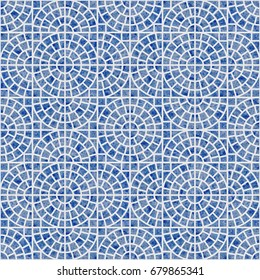 Abstract seamless geometrical pattern with blue watercolor texture on a light grey background. Floor tile, wallpaper, wrapping paper, page fill in Mediterranean ceramic style