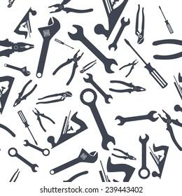 Abstract Seamless Hand tools pattern. Vector illustration