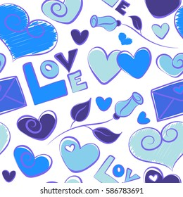 Abstract seamless heart pattern in blue and violet colors. Doodle flower, hearts, love text and letter on a white background.