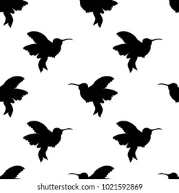 Abstract seamless hummingbird pattern for girls or boys. Creative background with hummingbird, birds. Funny wallpaper for textile and fabric. Fashion birds style. Monochrome bird picture