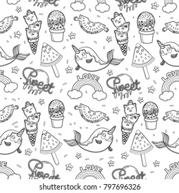 Abstract seamless ice cream pattern for girls or boys. Creative kids background with ice cream, cute eyes, cactus, stars, rainbow. Funny wallpaper for textile and fabric. Fashion ice cream style.