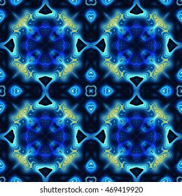 Abstract seamless kaleidoscopic pattern with gold and blue lines on a dark background