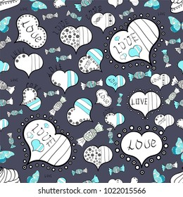 Abstract seamless love pattern. Girlish repeated backdrop with hearts, drawing in sketch style on blue, white and black colors. Romantic wallpaper for girls, textile, clothes, wrapping paper.