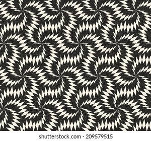 Abstract seamless monochrome pattern in retro style with triangular structure. Retro decoration with gothic motive, sepia tone and speckled texture. Visual effect of old worn down background.