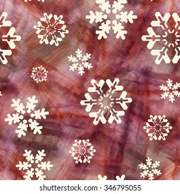 Abstract seamless patten with snowflakes