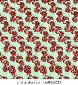 Abstract seamless pattern of cute hand painted simple flowers for textile,postcard, wrapping,scrapbook.Raster copy