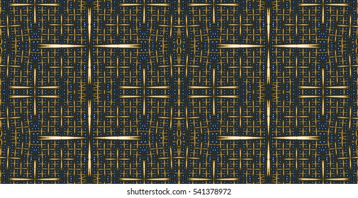 Abstract seamless pattern with a detailed mildly distorted grid, ideal for carpets,tapestries,fabrics or any other creative use, in high resolution and dark colors.