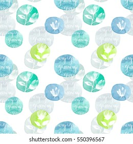 abstract seamless pattern with floral blobs watercolor. Hand drawn white flowers on blots background. Spring and summer seamless background