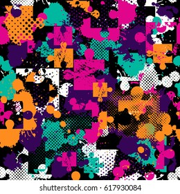 Abstract Seamless Pattern For Girls Boys Clothes Sportswear Creative Background With Puzzle