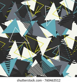 Abstract seamless pattern for girls, boys, clothes. Creative background with dots, geometric figures,stripes inscriptions. Funny wallpaper for textile and fabric. Fashion style. Colorful bright.