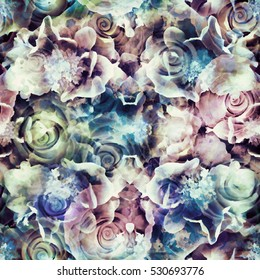 Abstract seamless pattern. Roses background texture. Vintage textile print, package design, fabric and fashion concepts.