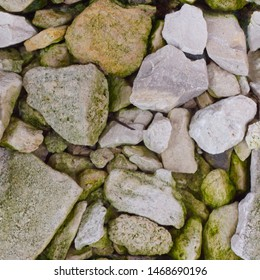 Abstract seamless photo pattern for designers or developers. Various broken rocks with moss fragments and rust.