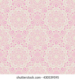 Abstract seamless pink vintage ornamental pattern for fabric