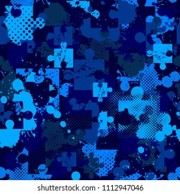 Abstract Seamless Puzzle Pattern For Girls Boys Creative With Square