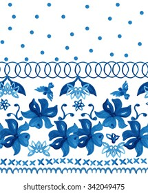 Abstract seamless tradition watercolor pattern for fabric