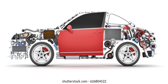Abstract shape car and many vehicles parts. 3d illustration