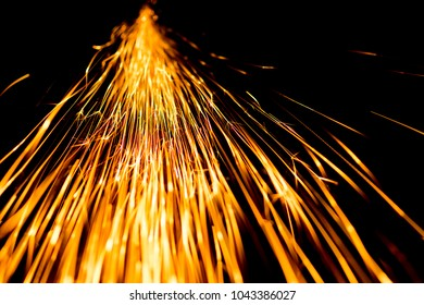 Abstract shape of splashing sparklets like comet tail straight to perspective