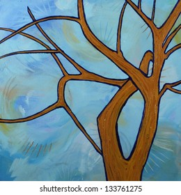 Abstract Shape of a Tree Against a Blue Sky Painting