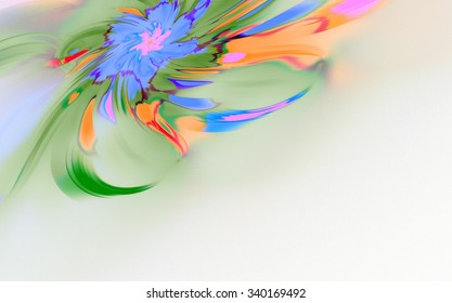 Abstract shapes made of fractal textures. Fancy paint. Background consists of fractal color texture and is suitable for use in projects on imagination, creativity and design