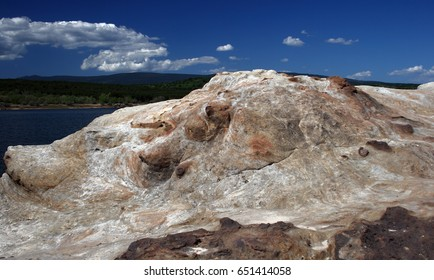 Abstract shapes on rocks of Soria, Spain,