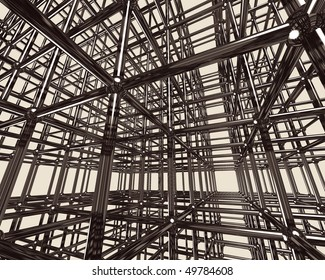Abstract shining chrome metal girder structure. Conceptual 3D illustration
