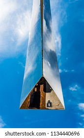 Abstract shiny (chromed) steel shape