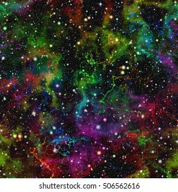 Abstract shiny colorful universe. Rainbow colored nebula night starry sky. Bright multicolor outer space. Glittering galactic texture background. Seamless illustration.