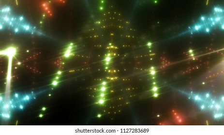 abstract shiny green background with beams and stars. illustration digital.