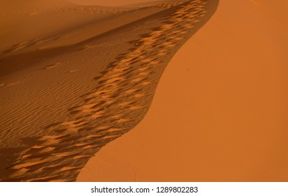 Abstract shot of waves of the sand dunes in the day light in Merzouga desert, Morocco