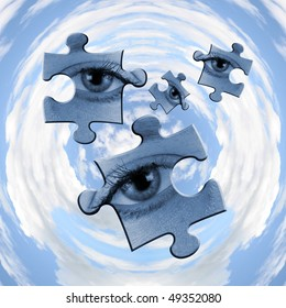Abstract showing jigsaw piece eyes over circular sky