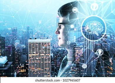 Abstract side portrait of handsome businessman with polygonal brain on night city background. Artificial intelligence concept. Double exposure
