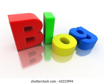 "Abstract sign ""Blog"" (colorful,isolated, done in 3d)"