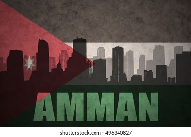 abstract silhouette of the city with text Amman at the vintage jordan flag background