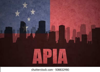 abstract silhouette of the city with text Apia at the vintage Samoa flag background