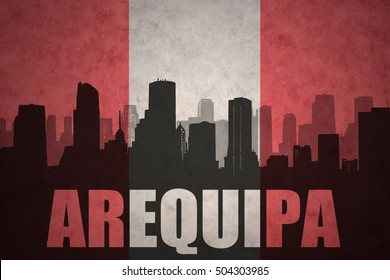 abstract silhouette of the city with text Arequipa at the vintage peruvian flag background