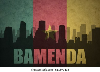 abstract silhouette of the city with text Bamenda at the vintage cameroon flag background