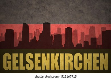abstract silhouette of the city with text Gelsenkirchen at the vintage german flag background