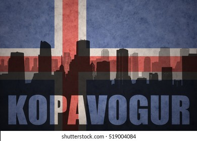 abstract silhouette of the city with text Kopavogur at the vintage icelandic flag background