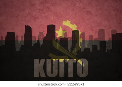 abstract silhouette of the city with text Kuito at the vintage angolan flag background