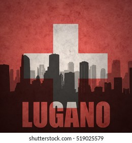 abstract silhouette of the city with text Lugano at the vintage swiss flag background