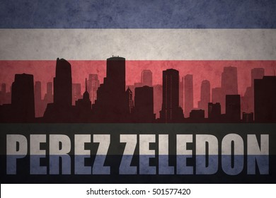 abstract silhouette of the city with text Perez Zeledon at the vintage costa rican flag background