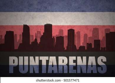 abstract silhouette of the city with text Puntarenas at the vintage costa rican flag background
