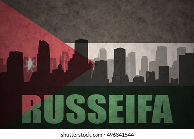 abstract silhouette of the city with text Russeifa at the vintage jordan flag background