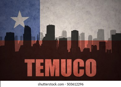 abstract silhouette of the city with text Temuco at the vintage chilean flag background