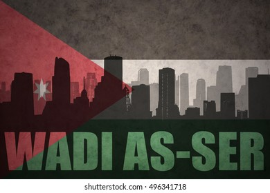 abstract silhouette of the city with text Wadi as-Ser at the vintage jordan flag background