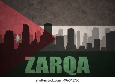 abstract silhouette of the city with text Zarqa at the vintage jordan flag background