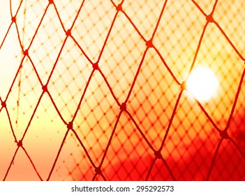 Abstract, Silhouette colorful of goal net soccer in the sunset