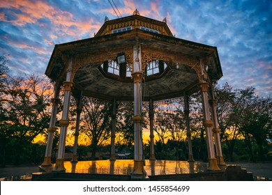 Abstract silhouette photography of Thailand style pavilion with sunset or sunrise sky background.